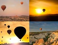 Collage de quatre images des ballons Photographie stock libre de droits