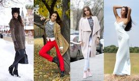Collage de quatre modèles différents dans des vêtements à la mode pour Photo stock