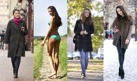 Collage de quatre modèles différents dans des vêtements à la mode pour Photos libres de droits