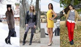 Collage de quatre modèles différents dans des vêtements à la mode pour Image libre de droits