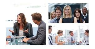 Collage de réunion d'affaires de travail d'équipe photographie stock