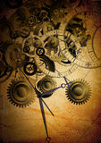 Collage de relojes en fondo de la vendimia Imagen de archivo