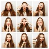 Collage de retratos de la mujer feliz fotografía de archivo libre de regalías