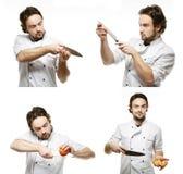 Collage de retratos de un uniforme que lleva del hombre joven del cocinero con a foto de archivo libre de regalías