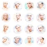 Collage de retratos femeninos Caras sanas de mujeres jovenes Balneario, elevación de cara, concepto del collage de la cirugía plá foto de archivo libre de regalías