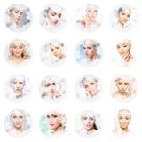 Collage de retratos femeninos Caras sanas de mujeres jovenes Balneario, elevaci?n de cara, concepto del collage de la cirug?a pl? imagenes de archivo