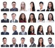 Collage de retratos de los hombres de negocios aislados en blanco imagenes de archivo