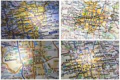 Collage de Rochester Minneapolis del mapa de camino foto de archivo libre de regalías