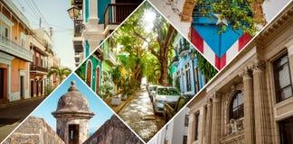 Collage de San Juan viejo, Puerto Rico fotografía de archivo