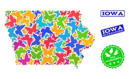 Collage de sauvegarde de nature de carte d'état de l'Iowa avec des papillons et des filigranes grunges illustration de vecteur