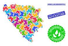 Collage de sauvegarde de nature de carte de la Bosnie-Herzégovine avec des papillons et des timbres rayés illustration stock