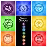 Collage de siete Chakras Imágenes de archivo libres de regalías