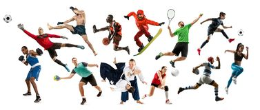 Collage de sport au sujet des athl?tes ou des joueurs Le tennis, fonctionnement, badminton, volleyball photo stock
