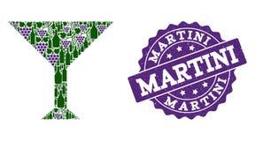 Collage de tasse de Martini des bouteilles de vin et du raisin et du timbre de grunge illustration de vecteur
