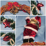 Collage de thème de Noël Santa et décorations Rouge et bleu-clair Photographie stock libre de droits