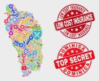 Collage de timbre sûr d'assurance de coût bas de Dominica Island Map et de détresse illustration stock