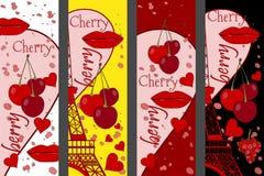 Collage de Tour Eiffel, d'une cerise et d'un baiser Collages romantiques réglés paris france Art contemporain illustration de vecteur