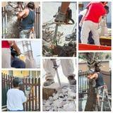 Collage de trabajadores en el trabajo. Fotos de archivo libres de regalías
