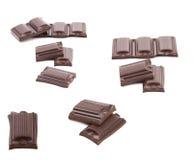 Collage de tres barras de chocolate. Imagen de archivo libre de regalías