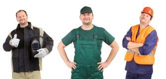 Collage de tres trabajadores. Imagen de archivo libre de regalías