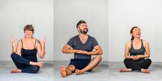 Collage de trois : Étudiants de yoga montrant différentes poses de yoga Photographie stock