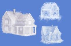 Collage de trois maisons rêveuses de nuage Image stock