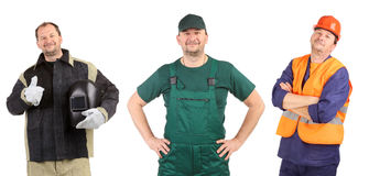 Collage de trois travailleurs. Image libre de droits
