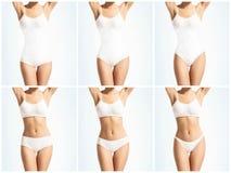Collage de un cuerpo femenino en la ropa interior blanca Salud, deporte, aptitud, nutrición, pérdida de peso, dieta, retiro de la fotografía de archivo libre de regalías