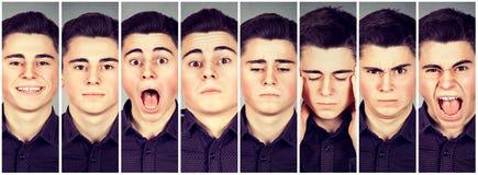 Collage de un hombre que expresa diversas emociones imagenes de archivo