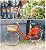 Collage de una bici, de zapatos de madera y de tulipanes en Amsterdam Imagenes de archivo