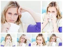 Collage de una mujer enferma joven Fotografía de archivo