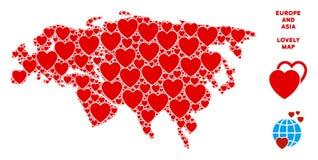 Collage de Valentine Europe And Asia Map del vector de corazones ilustración del vector