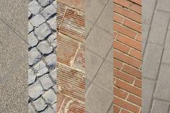 Collage de varias paredes de ladrillos y pisos del pavimento Diverso t fotografía de archivo