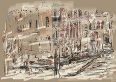 Collage de Venecia, canal magnífico stock de ilustración