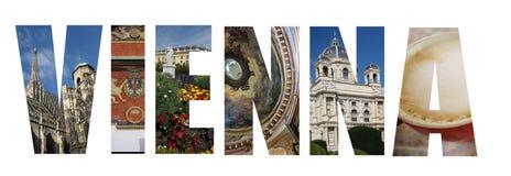 Collage de Vienne Autriche sur le blanc Photographie stock libre de droits