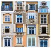 Collage de vistas típicas de las ventanas de una casa en el centro de Salzburg Imagenes de archivo