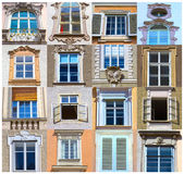 Collage de vistas típicas de las ventanas de una casa en el centro de Salzburg Fotos de archivo