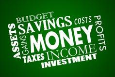 Collage de Word de finances de budget de l'épargne d'argent Photo libre de droits
