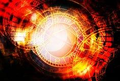 Collage de zodiaque dans l'espace cosmique Fond abstrait de couleur blanc au moment de l'exécution d'isolement par concept de fon illustration stock