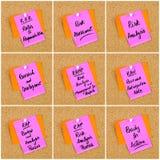 Collage degli acronimi di affari scritti sulla nota di carta immagine stock