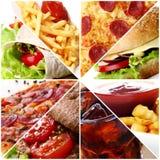 Collage degli alimenti a rapida preparazione Immagine Stock