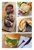 Collage degli alimenti a rapida preparazione Fotografie Stock Libere da Diritti