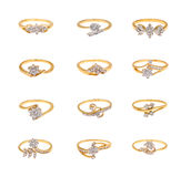 Collage degli anelli di diamante Fotografie Stock Libere da Diritti