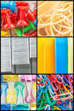 Collage degli articoli per ufficio del primo piano fotografie stock