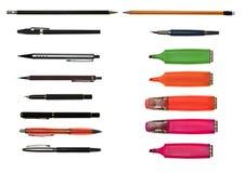 Collage degli oggetti di scrittura Immagine Stock