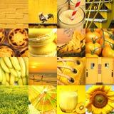 Collage degli oggetti differenti ed alimento nel giallo Fotografia Stock