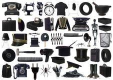Collage degli oggetti neri Immagini Stock Libere da Diritti