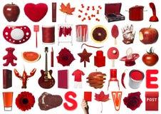 Collage degli oggetti rossi Immagine Stock