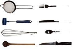 Collage degli utensili della cucina Fotografia Stock