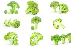 Collage dei broccoli verdi freschi sopra un fondo bianco Fotografia Stock